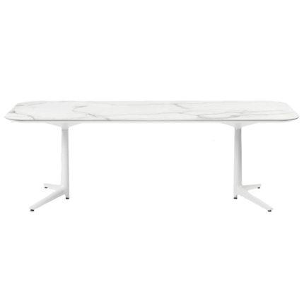 Masa Kartell Multiplo XL design Antonio Citterio, 180x90cm, h75cm, blat cu finisaj marmura, alb