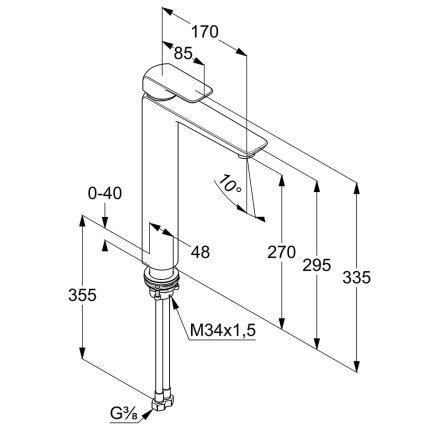 Baterie lavoar Kludi Ameo h270mm, pentru lavoar tip bol, fara ventil