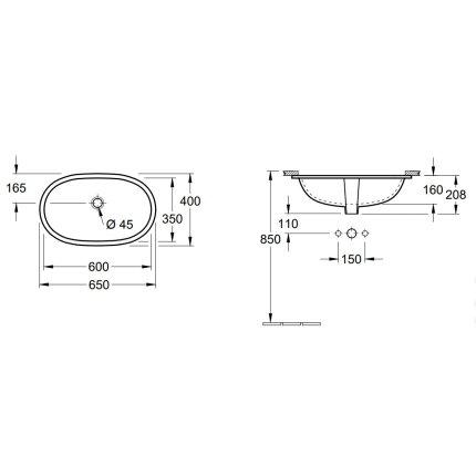 Lavoar Villeroy & Boch O.Novo 60x35cm, montare sub blat, fara orificiu baterie, Alb Alpin