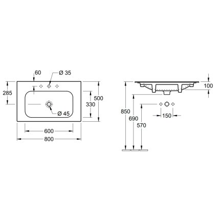Lavoar Villeroy & Boch Finion 80x50cm, fara orificiu baterie, fara preaplin, alb