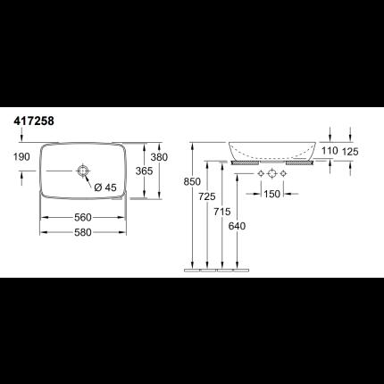 Lavoar tip bol Villeroy & Boch Artis 58x38cm, fara orificiu baterie, fara preaplin, montare pe blat