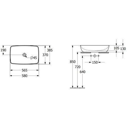 Lavoar tip bol Villeroy & Boch Artis 58x38cm, fara orificiu baterie, fara preaplin, montare pe blat, Coal Black
