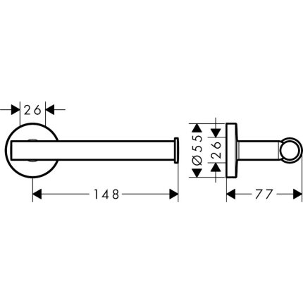 Suport hartie igienica Hansgrohe Logis Universal 148mm, crom
