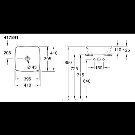 Lavoar tip bol Villeroy & Boch Artis 41cm, fara orificiu baterie, fara preaplin, montare pe blat