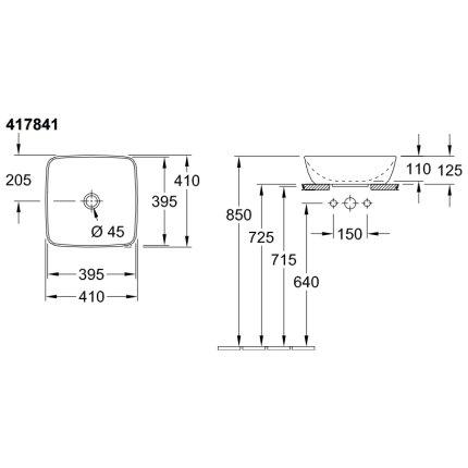 Lavoar tip bol Villeroy & Boch Artis 41cm, fara orificiu baterie, fara preaplin, montare pe blat, Coal Black