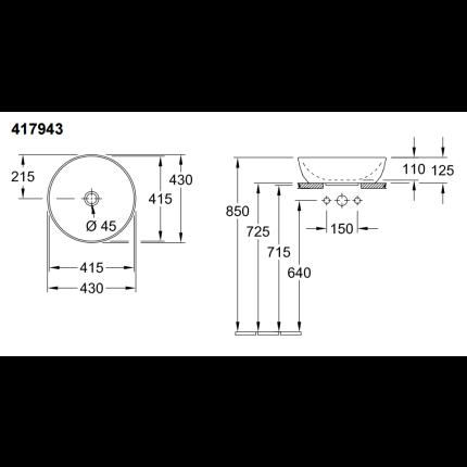 Lavoar tip bol Villeroy & Boch Artis 43cm, fara orificiu baterie, fara preaplin, montare pe blat