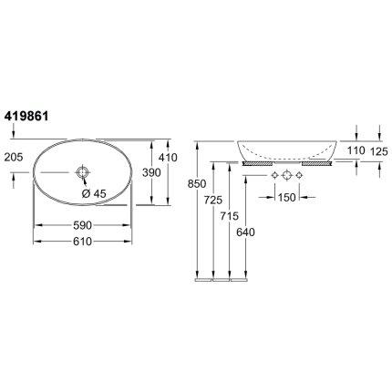 Lavoar tip bol Villeroy & Boch Artis 61x41cm, fara orificiu baterie, fara preaplin, montare pe blat, Indian Summer