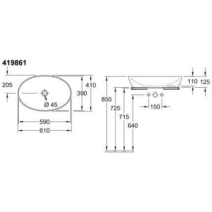 Lavoar tip bol Villeroy & Boch Artis 61x41cm, fara orificiu baterie, fara preaplin, montare pe blat, Powder