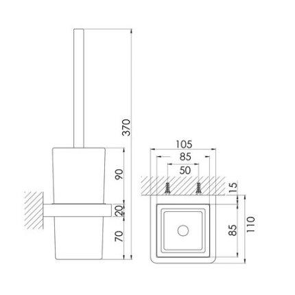 Perie WC cu suport de perete Steinberg 420 crom/sticla neagra
