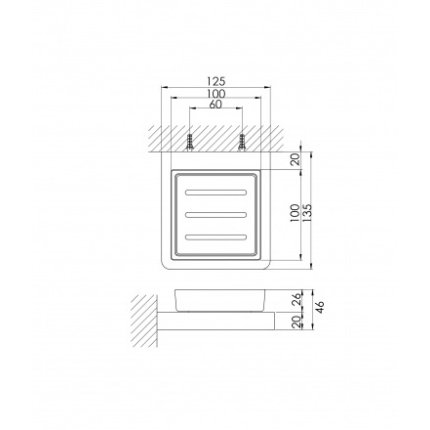 Savoniera cu suport perete Steinberg 420 crom/sticla neagra