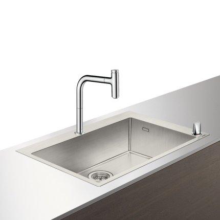 Set Hansgrohe Sink Combi C71-F660-08, chiuveta inox 760mm + baterie din doua elemente cu dus extractibil, crom