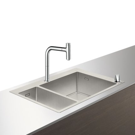 Set Hansgrohe Sink Combi C71-F655-09, chiuveta inox 755mm, cuva mare dreapta + baterie din doua elemente cu dus extractibil, crom