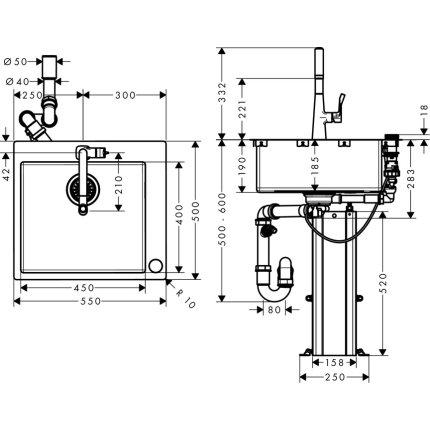 Set Hansgrohe Select Sink Combi C71-F450-01, chiuveta inox 550mm + baterie cu pipa rotativa si dus extractibil, crom
