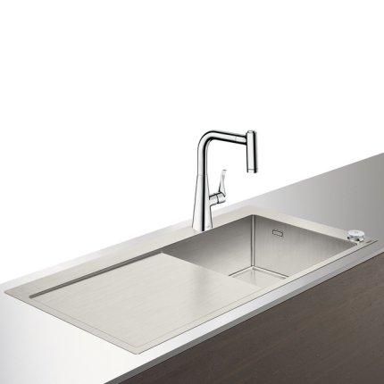Set Hansgrohe Select Sink Combi C71-F450-02, chiuveta inox 1045mm cu picurator stanga + baterie cu pipa rotativa si dus extractibil, crom