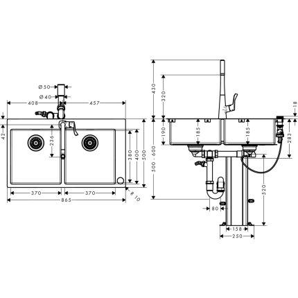 Set Hansgrohe Select Sink Combi C71-F765-05, chiuveta inox 865mm cu doua cuve + baterie cu pipa rotativa si dus extractibil, crom