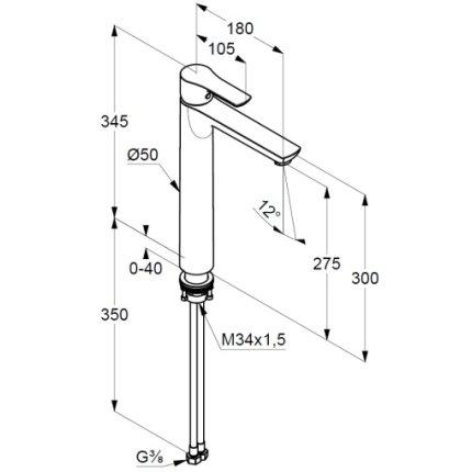 Baterie lavoar Kludi Life 275mm, pentru lavoare tip bol, fara ventil