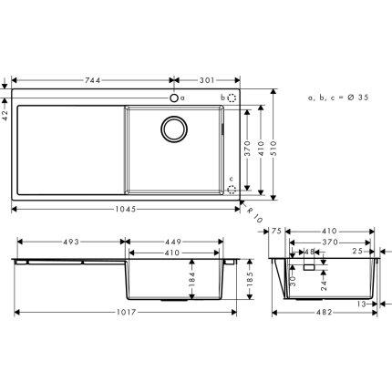 Chiuveta Hansgrohe S715-F450, 1045mm, picurator stanga, inox