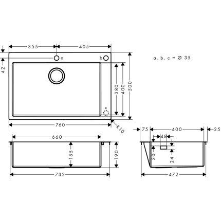 Chiuveta Hansgrohe S712-F660, 760mm, orificiu buton control, inox