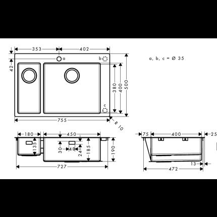 Chiuveta Hansgrohe S711-F655, 755mm, cuva mare dreapta, inox