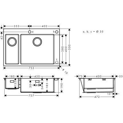 Chiuveta Hansgrohe S712-F655, 755mm, cuva mare dreapta, orificiu buton control, inox