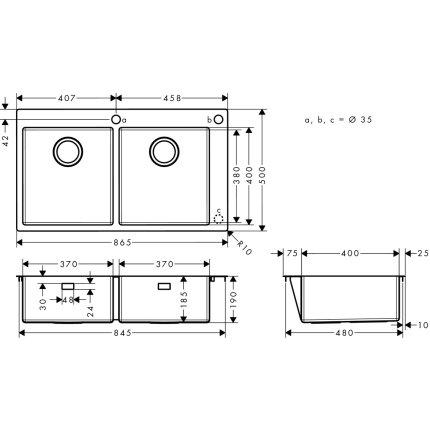 Chiuveta Hansgrohe S712-F765 cu doua cuve, 865mm, orificiu buton control, inox