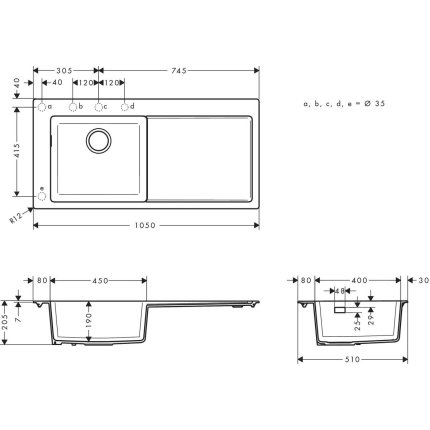 Chiuveta bucatarie Hansgrohe S514-F450 SilicaTec 450, 51x105x19cm, picurator dreapta, stone grey