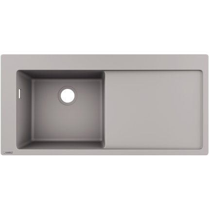 Chiuveta bucatarie Hansgrohe S514-F450 SilicaTec 450, 51x105x19cm, picurator dreapta, concrete grey