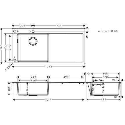 Chiuveta bucatarie Hansgrohe S717-F450, 1045x510mmmm, picurator dreapta, inox