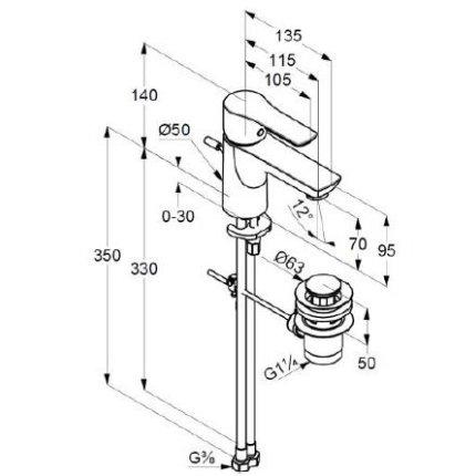 Baterie lavoar Kludi Life, ventil pop-up