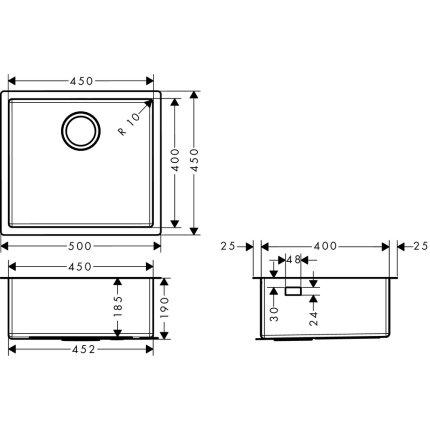 Chiuveta Hansgrohe S719-U450, 500mm, montare sub-blat, inox