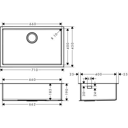 Chiuveta Hansgrohe S719-U660, 710mm, montare sub-blat, inox