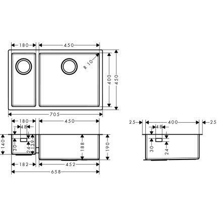 Chiuveta Hansgrohe S719-U655, 705mm, cuva mare dreapta, montare sub-blat, inox