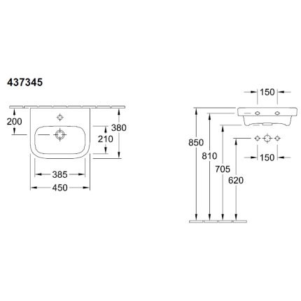 Lavoar Villeroy & Boch Architectura 45x38cm, alb