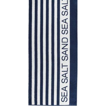 Prosop plaja Cawo Sauna Sea Salt Sand 80x180cm, 16 albastru marin-alb