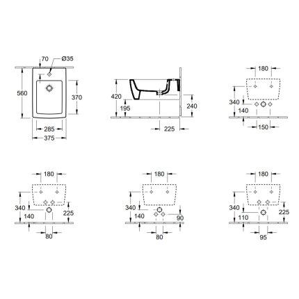 Bideu suspendat Villeroy & Boch Memento 2.0, 56x37.5cm, negru mat