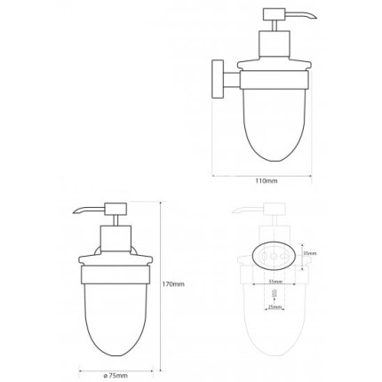 Dispenser sapun lichid Bemeta Oval cu montaj pe perete crom