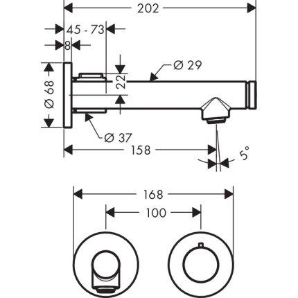 Baterie lavoar Hansgrohe Axor Uno levier Select de perete, pipa 165mm, fara ventil, montaj incastrat, necesita corp incastrat