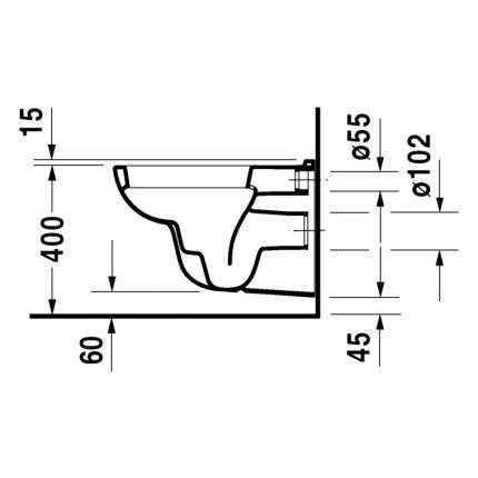 Set vas WC suspendat Duravit D-Code 54.5x35.5cm si capac clasic