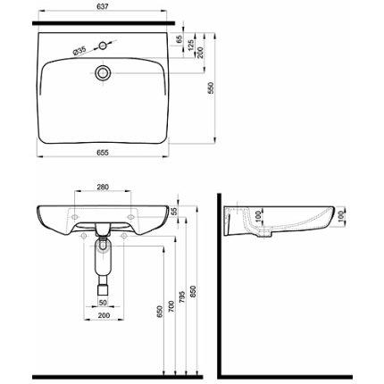 Lavoar pentru persoane cu dizabilitati Kolo Nova PRO 65x55cm fara preaplin