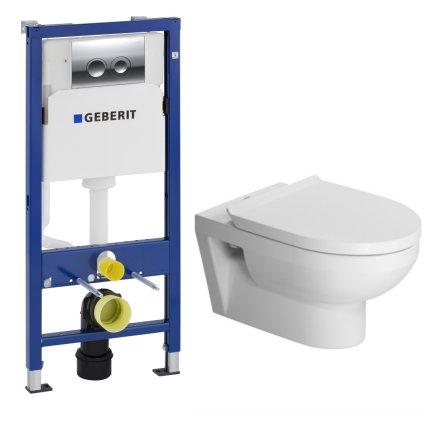 Set vas WC suspendat Duravit Durastyle cu capac inchidere lenta, rezervor incastrat Geberit Duofix Delta PLUS cu clapeta Delta 21 crom