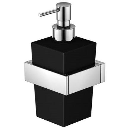 Dozator sapun lichid cu suport de perete Steinberg seria 460 crom/sticla negru satinat
