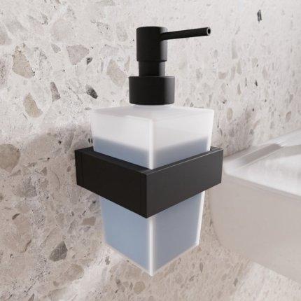 Dispenser sapun lichid cu suport de perete Steinberg seria 460 Matt Black, sticla alb satinat