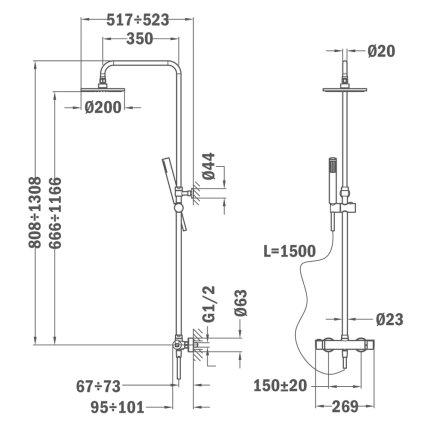 Coloana de dus Teka MT Plus cu baterie termostatata, palarie 200mm, para cu 1 functie, crom