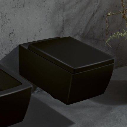 Vas WC suspendat Villeroy & Boch Memento 2.0 DirectFlush, 56x37.5cm, CeramicPlus, negru lucios