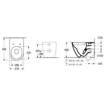 Vas WC suspendat Villeroy & Boch Subway 3.0 60x37cm, TwistFlush / AntiBac, Alb Alpin