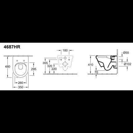 Set vas WC suspendat Villeroy & Boch Arhitectura Compact cu capac inchidere lenta