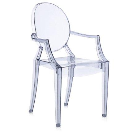 Scaun Kartell Louis Ghost design Philippe Starck, bleu transparent