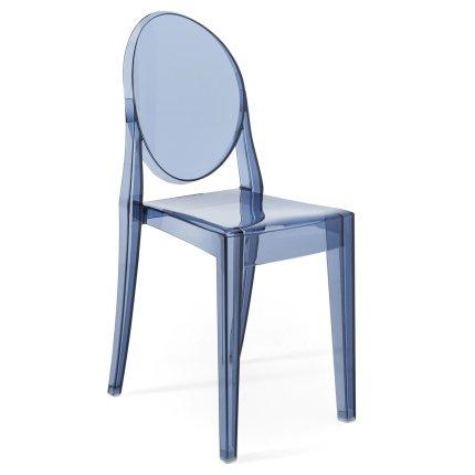 Scaun Kartell Victoria Ghost design Philippe Starck, albastru transparent