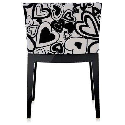 Scaun Kartell Mademoiselle design Philippe Starck, tapiterie Moschino, inimi alb-negru