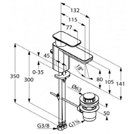 Baterie lavoar Kludi E2 eco, ventil pop-up